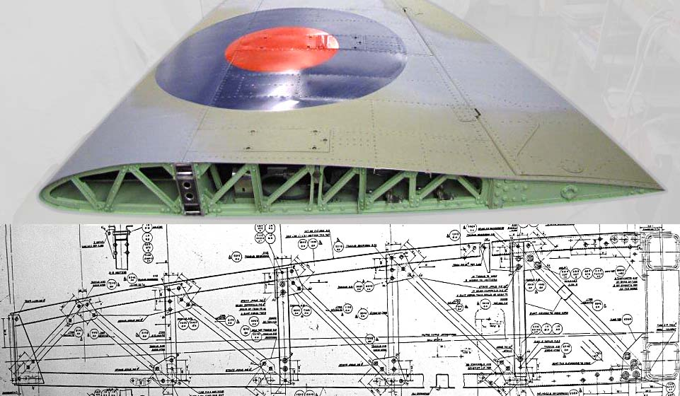 Section through wing at Rib No 12, with Supermarine side elevation
