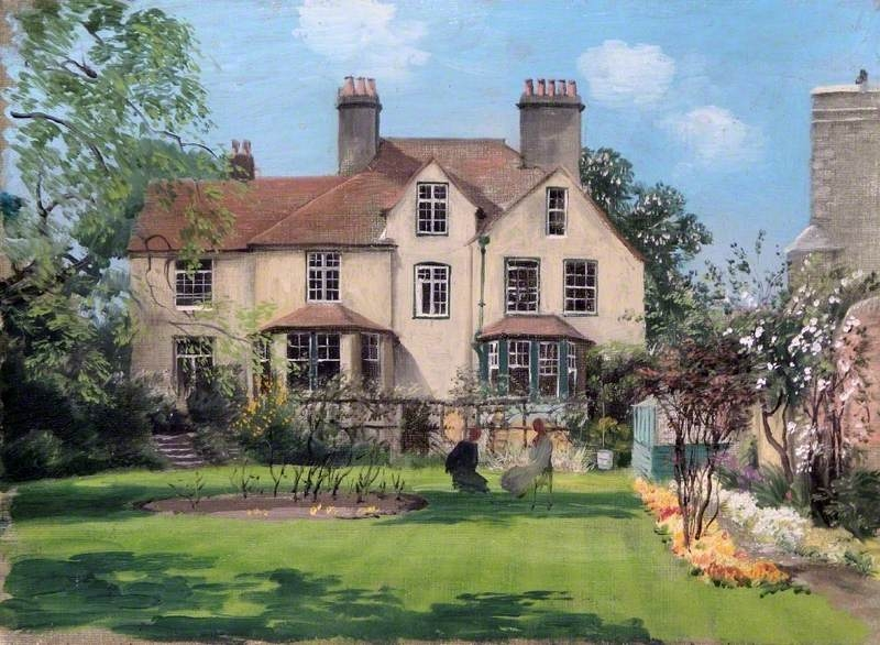 Rex_Whistler_-_Two_Ladies_Taking_Tea_in_the_Vicarage_Garden_at_Bierton,_Buckinghamshire 1940