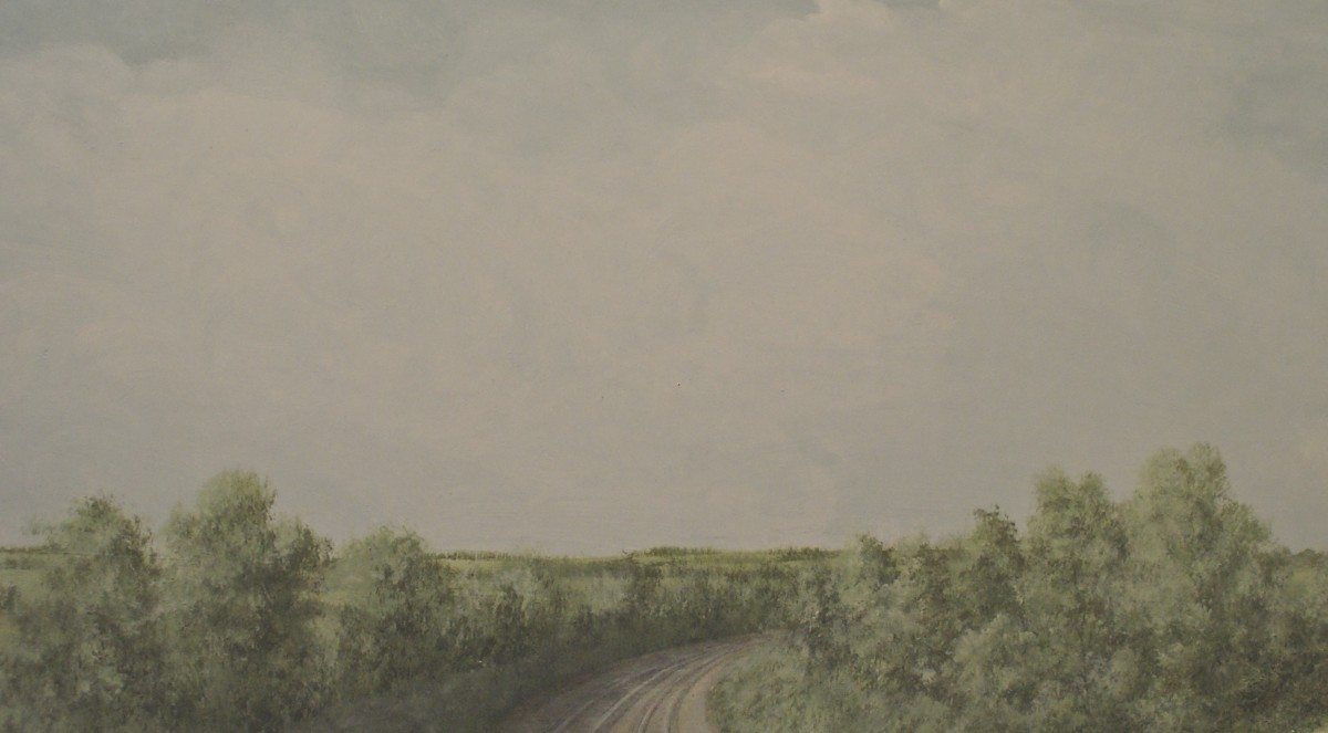 Work in progress on a 2D section, with some branches and detail still to be included. This quiet open landscape is lit from the left with even cloud cover, and a low horizon taken from the layout's optimum viewing height.
