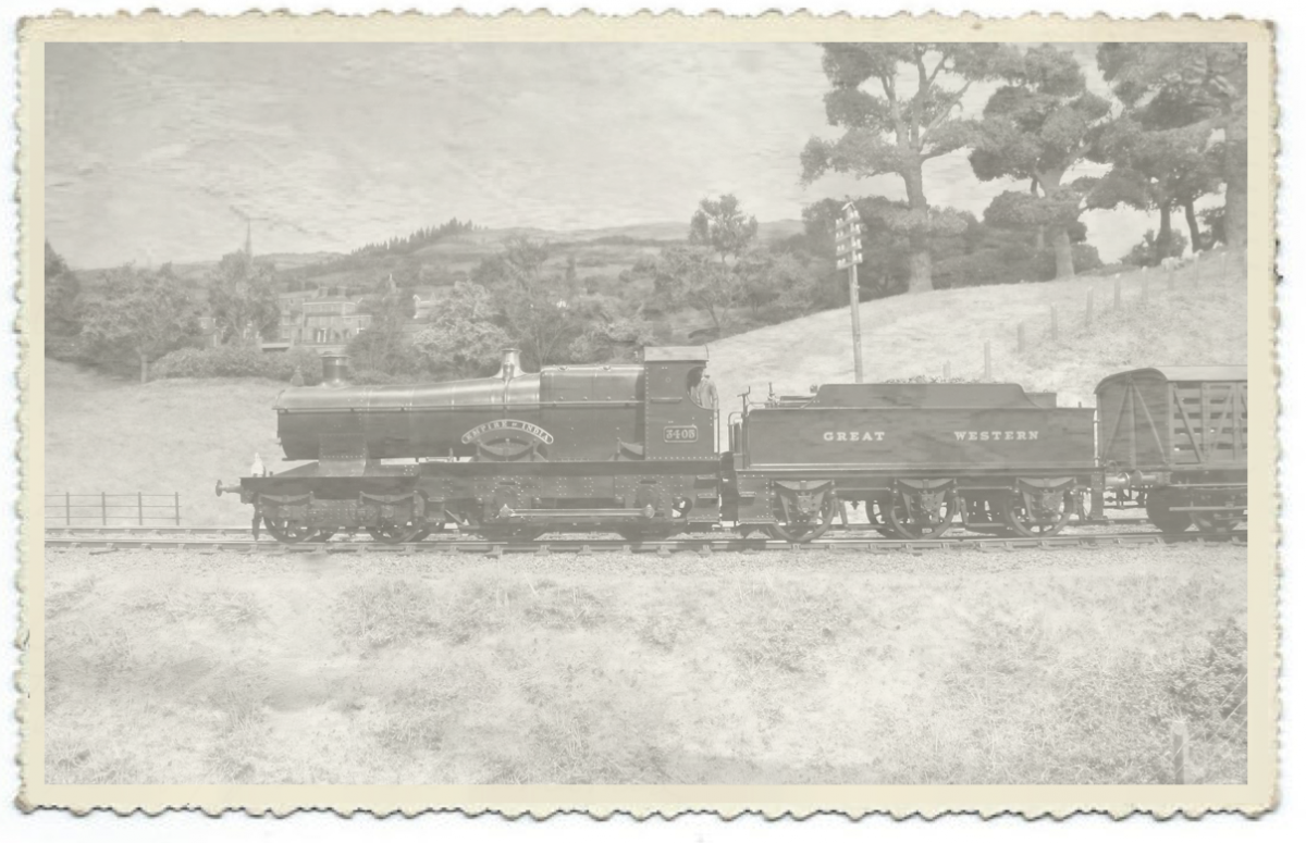 A trial of a faded postcard, with Empire of India passing Ewyas Harold.