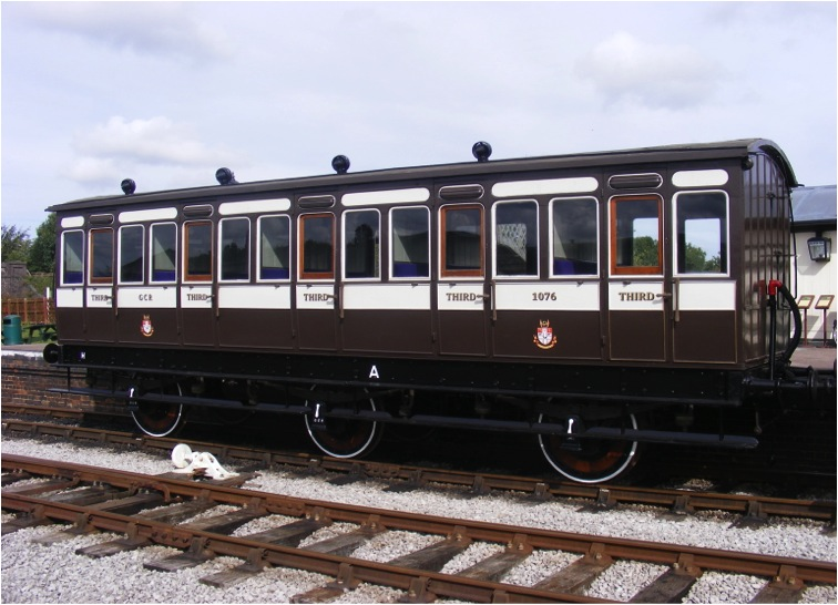 No 1076, one of the two restored M.S.& L. / G.C.R 6 wheeled coaches.