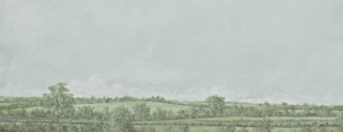 This is just to the right of Sedgehill, and the accompanying outline shows the slightly rising meadow at centre skyline with three large trees at hedgerow to right, and woodland to left. Martin wanted the sky at this aspect of Semley's panorama to present a featureless light cloud cover, unlike the more dynamic cumulus clouds at the eastern view.