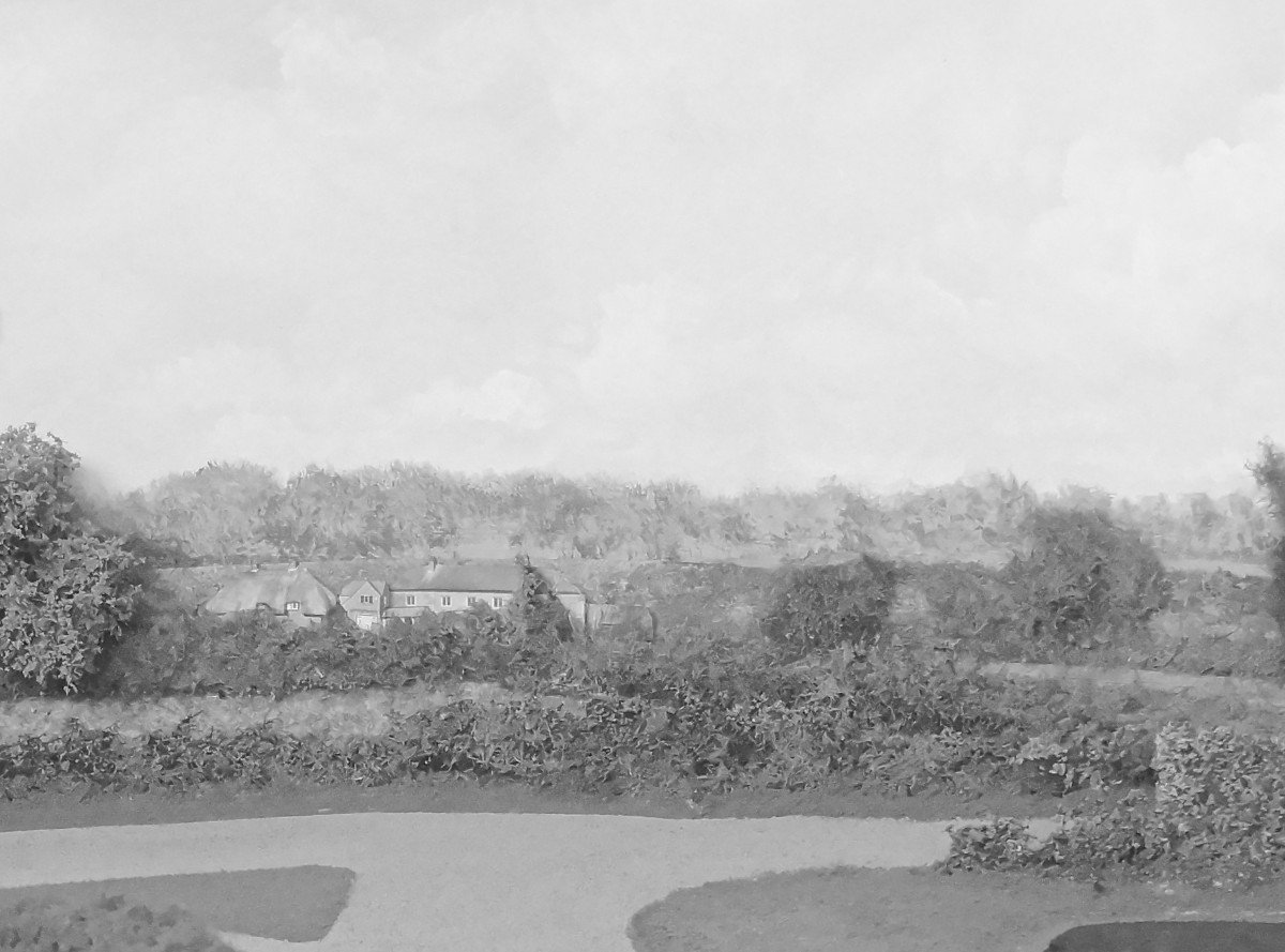 The path of the rear panel has been eased into a panoramic curve above the western scenic break. The Shaftesbury to Warminster road runs from the left, progressing into reduced scale as it rounds the curve to the right behind the pond. A row of cottages appear in the middle distance before a bend in the lane to Hugglers Hole, and in this detail, the skyline looking towards Gillingham is mainly broken by woodland, and the entire north Western aspect of the backscene just has a featureless even cloud cover.