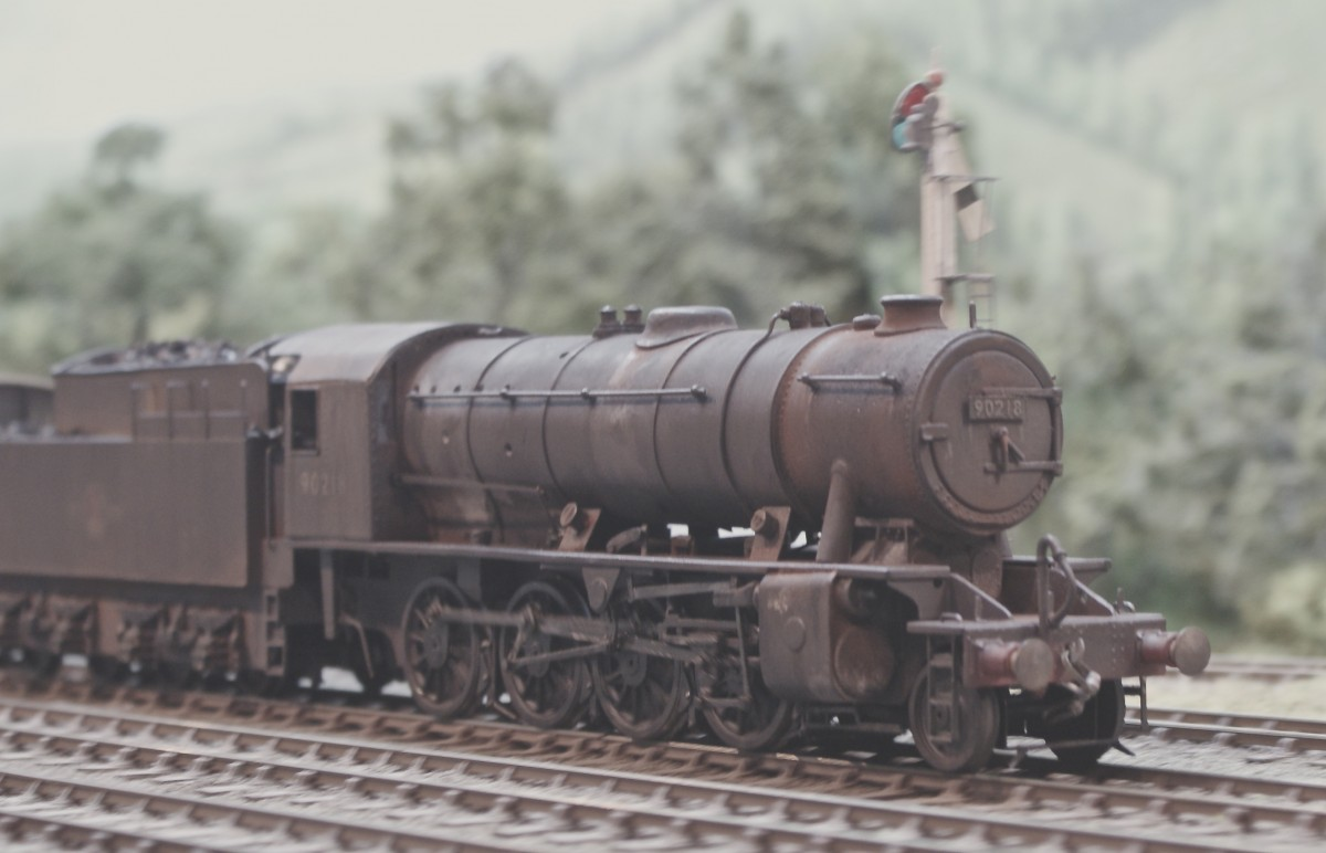 Jack Anziani brought a variety of locomotives, including this Austerity 'Dub Dee' 2-8-0 which still needs balance weights for correct appearance, but makes up for it by being covered in 'muck' as Jack puts it.