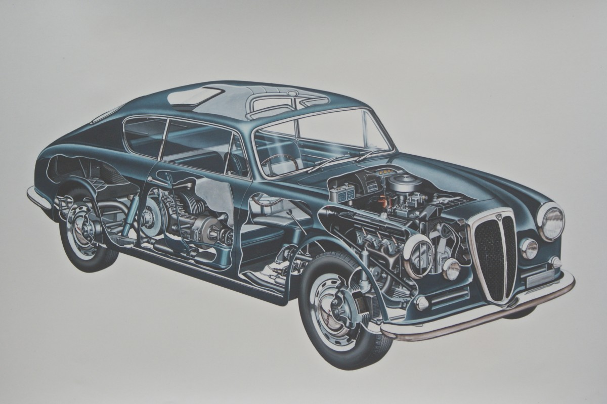 A cutaway of the clever and stylish Lancia Aurelia.