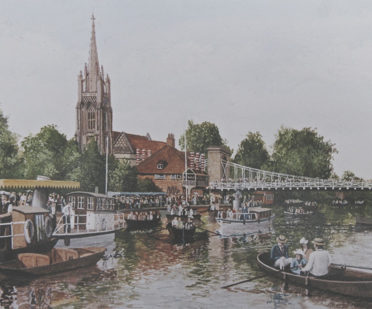People & boats everywhere in this loose painting of the river