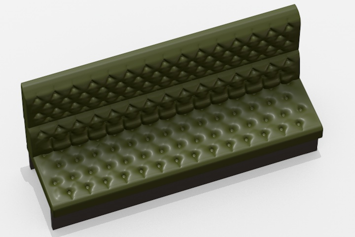 This happens to show the assembly in green smoking compartment leather, but it can be presented in any colours just by spraying it satin for leather or matt for woven fabric