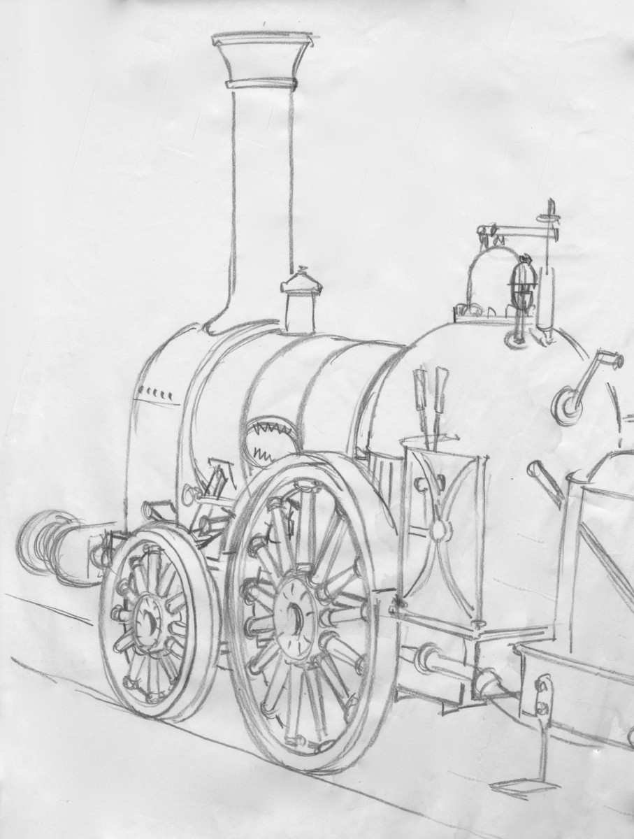 A working pencil sketch for a painting of a Bury 2-2-0 of the same period