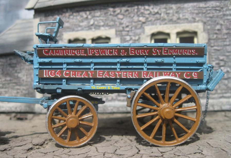 A G.E.R. Horse drawn wagon at Hadleigh Station yard. The model was painted by Dave Studley
