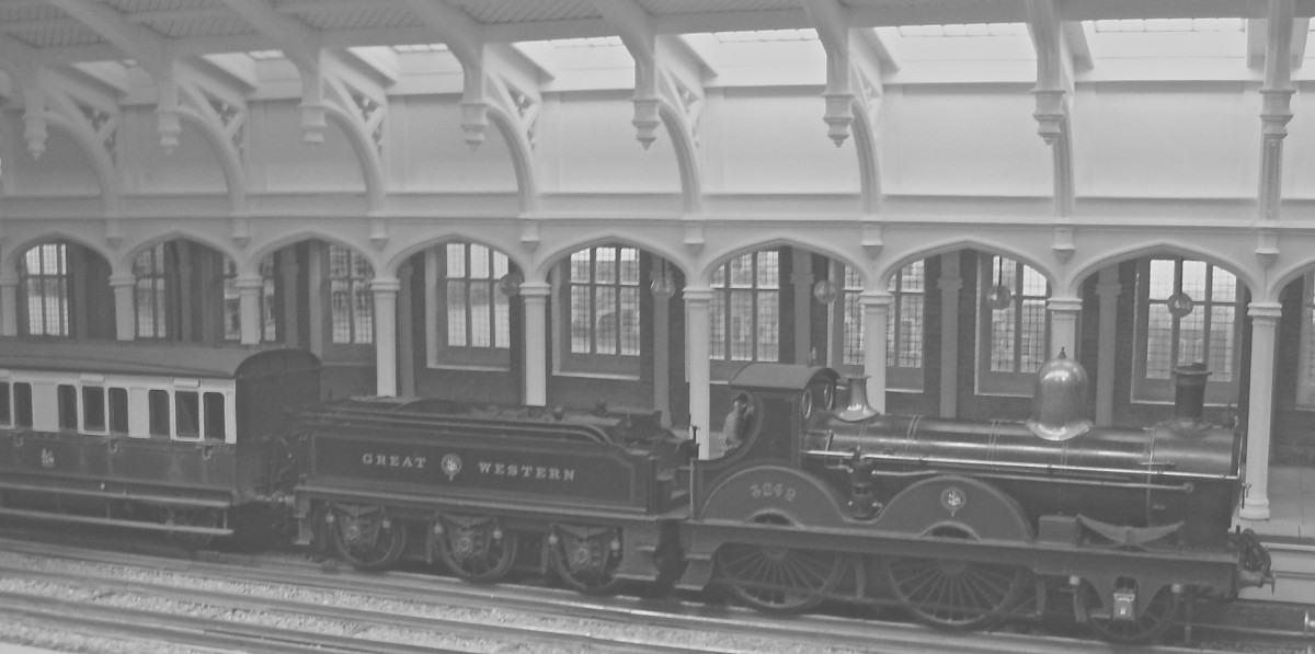 Temple Meads, in the mid Victorian period. The architectural detail was copied from the drawings, then generated in 3D.